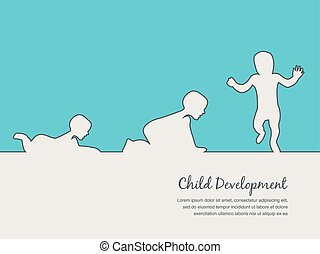 baby development icon, child growth stages toddler...
