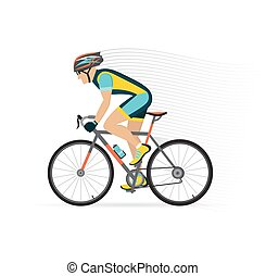 cyclist male on a white background. vector illustration. -...