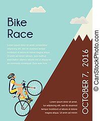 cyclist in bicycle racing go to the mountain. race  competition poster. Vector illustrator.