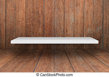 White shelf on wooden interior texture background, stock...