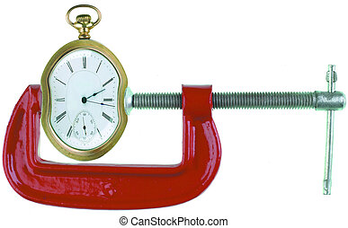Time squeeze - Clamp squeezing a clock on white