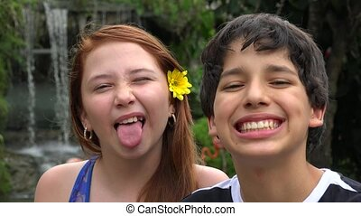 Teen Boy And Girl Having Fun