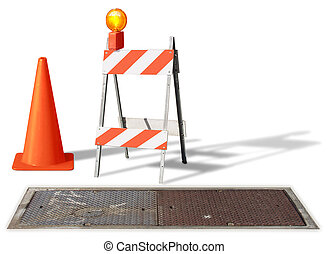 under construction - construction cone & barrier on white