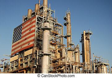 norteamericano, aceite, refinería