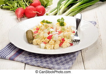 vegetarian pasta salad with radishes and spring onions -...