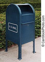 US Mail - blue US mailbox on sidewalk