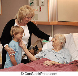 family visiting hospice - family visiting grandmother in...