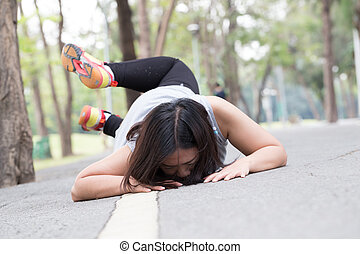 Accident. stumble and fall while jogging