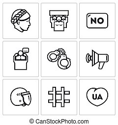 Vector Set of Feminism and Womens Rights Icons Female,...