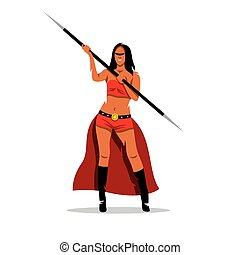 Vector Woman Amazon with a spear Cartoon Illustration - A...