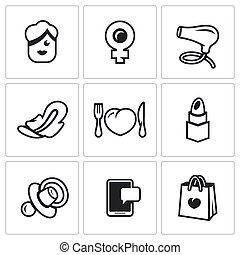 Vector Set of Woman and her habits Icons. Female, symbol of...
