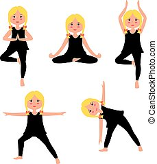 Children yoga vector set - Kids Practicing Yoga. Cartoon...