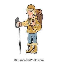 Mountain climber cartoon character