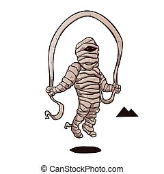 mummy jumping rope.egyptian mummy