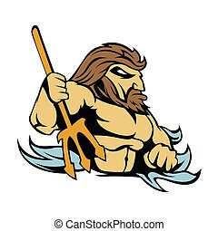 Neptune Poseidon Trident  Retro.vector illustration.