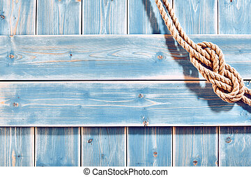 Natural Rope Double Figure Eight Knot on Blue Wood -...
