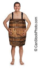 bankrupt - naked man wearing a wooden barrel