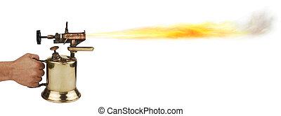 blow torch - vintage brass blowtorch on white background