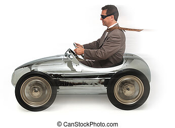 commuting - adult man in child\'s pedal car on white...