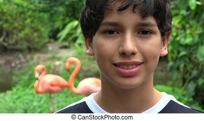 Young Teen Boy At Zoo