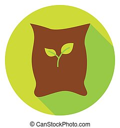 Garden Bag with Plant Seeds Circle Icon Flat Design Vector...