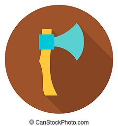 Hatchet Tool Circle Icon Flat Design Vector Illustration...