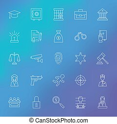 Law and Crime Line Icons Set over Blurred Background Vector...