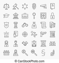 Law and Justice Line Art Design Icons Big Set. Vector Set of...