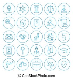 Line Circle Law and Crime Icons Set