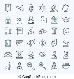 Line Lawyer Attorney and Crime Icons Set Vector Set of...