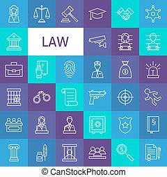Vector Line Art Law and Justice Icons Set Modern Thin...