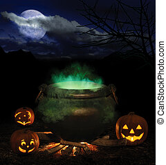conjured - bubbling iron cauldron with orange pumpkin...