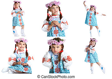 Collage of adorable little dancer in folk dress - Collage of...