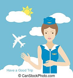 Stewardess woman smiling and pointing to the sky where the...