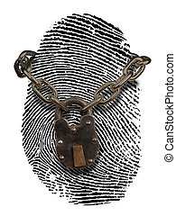 ID theft - finger print with lock and chain draped over it