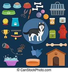 Dog icons flat set with dung kennel leash food bowl isolated...