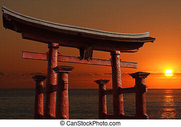Torii - Traditional floating Japanese gate at the entry to a...
