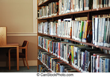 library - stack of library books and cubicle for reading