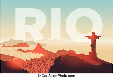 Rio de Janeiro skyline. Statue rises above the brazilian...