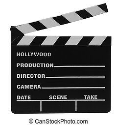 movie clapper board isolated on whtie background with...