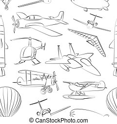 Aviation Icons Set pattern Vector illustrations, objects...