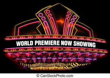 movie theatre marquee - electric, neon movie marquee on...