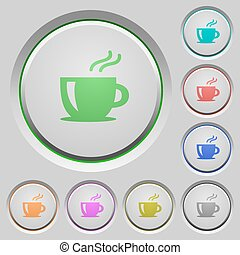 Cappuccino push buttons - Set of color cappuccino sunk push...