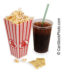 popcorn and movie - Popcorn, soda, tickets isolated on white...