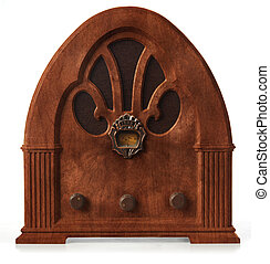 gothic radio orthographic - antique gothic radio on white,...