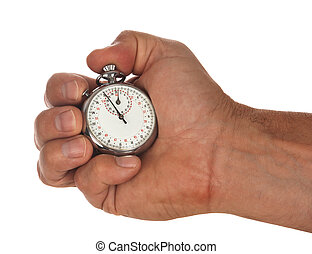 stopwatch with hand - male hand holding stop watch