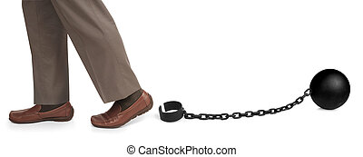 unshackled - mans legs released from ball and chain