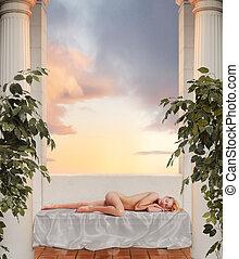 sleeping goddess - godess sleeping on sheer fabric between...