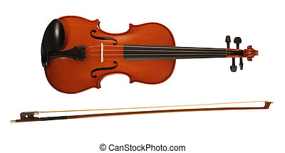 Violin & bow - A violin and bow on white