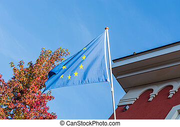 EU flag in front of an old building